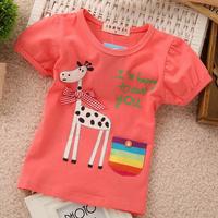 Free shipping ! Summer Fashion  Popular Cute Sweet  Giraffe Animal Bow  Color pocket Cotton Short sleeve T- shirt for girls 1-5Y