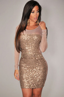 New 2014 spring-summer women clothing sexy club dress gold all over sequined sheer long sleeve bodycon dress FREE SHIPPING