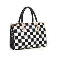 Fashion bags 2014 new women leather handbag black and white plaid bag women messenger bag handbag women's clutch shoulder bag