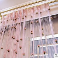 new 2014 String Curtain with rose Tassel Drapes for Window door curtain Colorful Freeshipping wholesale