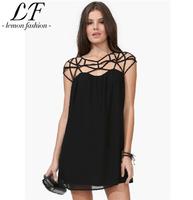 2014 New Women Summer Spaghetti Strap Chiffon Dress Sexy Hollow Out Work Dress Plus Size Black White