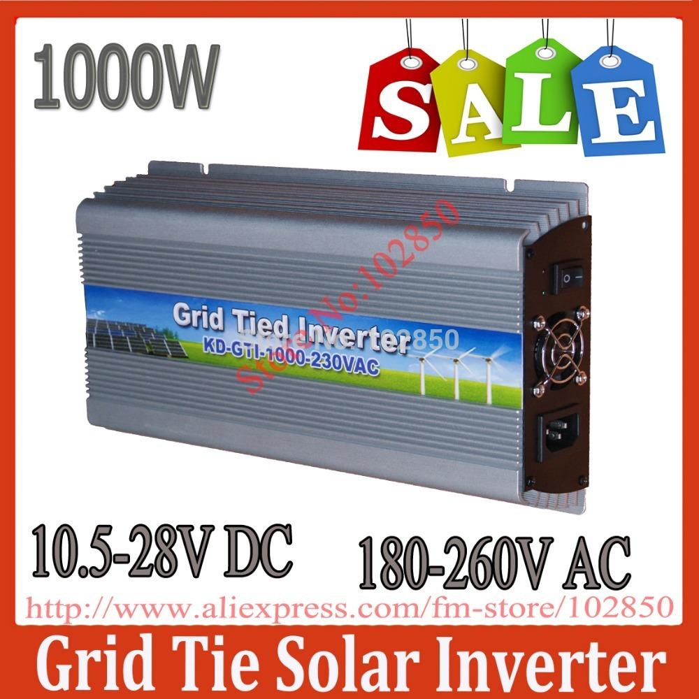Sale!1000W MPPT grid tie solar inverter,10.5-28V DC,180-260V AC,Solar grid tie inverter,CE,IP23 indoor design(China (Mainland))