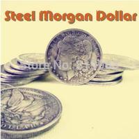 Free shipping,Steel Morgan Dollar (3.8cm),5pcs/lot,close up magic,mentalism,stage magic props,comedy