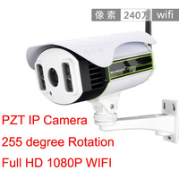 PTZ outdoor bullet wireless IP Camera Full HD 1080P home Security cctv camera wifi DC 6-22mm lens 4pcs Array ir led Free ship
