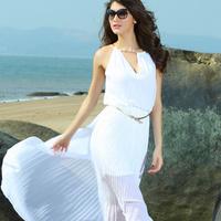 2014 New Brand Beach Dress For Women Summer Women's Fashion One-piece Dress Long Chiffon Dress White/Blue/Red Color