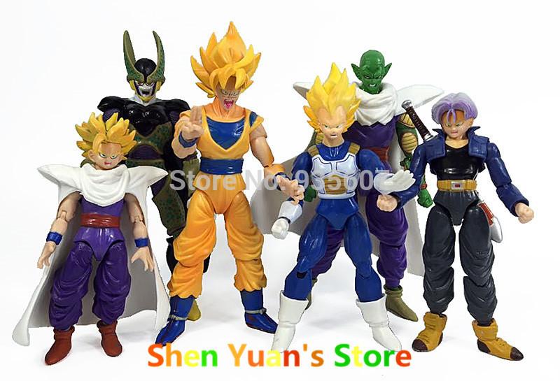 New Dragonball Z Dragon Ball DBZ Anime 15cm Goku Vegeta Piccolo Gohan super saiyan Joint Movable Action Figure Toy 6 pcs Set(China (Mainland))