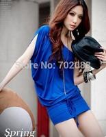 Retail new 2014 Korean version Sexy & Club women summer dress casual dresses vestidos Slim hip dress Black Blue