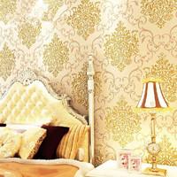 0.53*10m/roll Fashion Damascus non-woven wallpaper 3D stereoscopic living room wallpaper, Free shipping