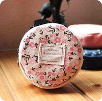 Women Korean Style creative round cute canvas bag zipper designer small key holder flora coin purse brand dropship free shipping