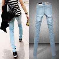 Tidal current male slim skinny jeans pencil pants elastic personality narrow pants boot cut jeans male