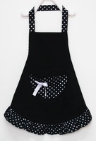 Brand New 1Pcs Lady Lovely Princess Style Black Cotton Cooking Kitchen Apron with big pocket Free Shipping