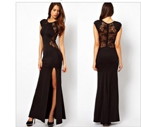 European 2014 New Fashion Casual Women Formal Maxi Long Full Length Dress Lace Placketing Behind Sexy Party Dress Plus Size XXXL