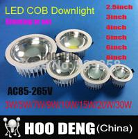 Super 3W 5W 7W 9W 12W 15W 20W 30W LED COB Ceiling Light Cool Cold Warm White LED Down Light