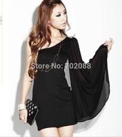 Retail new 2014 Korean version Sexy & Club Chiffon women summer dress Trumpet sleeves casual dresses slim Black