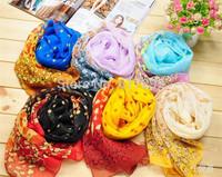 FREE SHIPPING SS0033 fashion NEW all match lace Bohemia foulard echarpe chiffon silk scarf brand design Polka dots print  floral