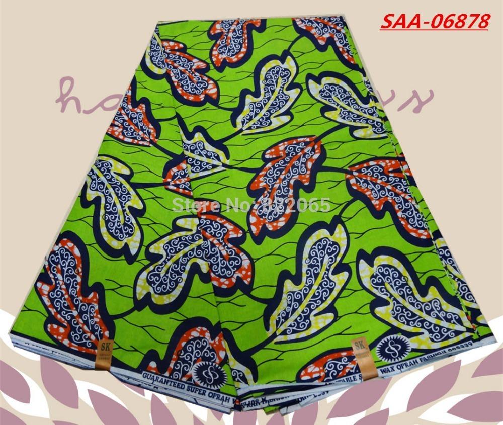 High Quality Green Color 100% Cotton Hollandais Textile Super Wax Printed Fabric 6 yards/lot SAA-06878(China (Mainland))