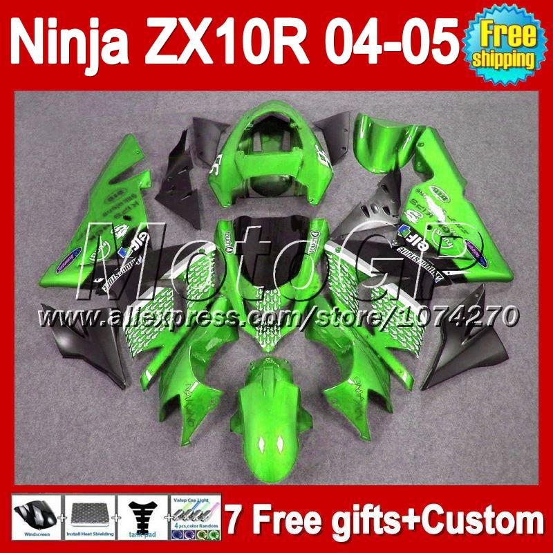 7gifts For KAWASAKI 04-05 NINJA ZX 10R 10 R Green white 2004 2005 P19187 ZX-10R 04 05 ZX10R 2004 2005 Green black Fairing Kit(China (Mainland))