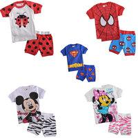Cartoon Baby Kids Pajamas Boys Girls Short Sleeve Sleepwear Sets