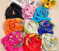 FREE SHIPPING SS0046 fashion NEWEST all match lace Bohemia foulard echarpe chiffon silk scarf brand design print rose bird trees