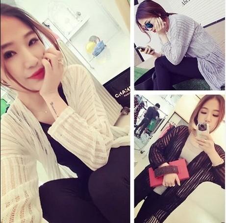 Nova 2014 elegante médio-longo de malha camisa protetor solar camisa ar condicionado cardigan 212 mulheres Trench(China (Mainland))