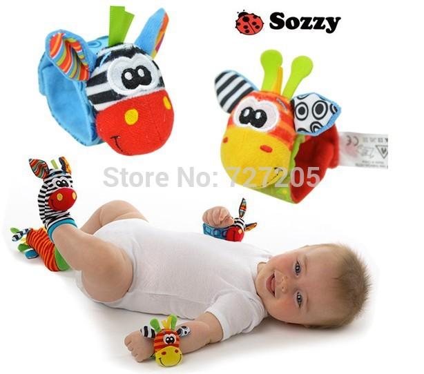 2014 New 4pcs/lot baby rattles educational Stuffed & Plush toys Wrist Rattle and Foot Socks Free Shipping(China (Mainland))