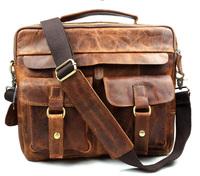 2014 Brand New Vintage 100% Genuine Leather Business Laptop Bags For Men Crazy Horse Leather Handbag / Briefcase / Messenger Bag
