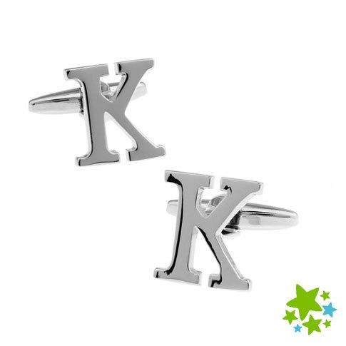 Novidade inglês letra K abotoaduras para homens Plain suave metal Cuff Wedding Party ligação Bar Presente Jóias Bijoux fornecedor por atacado(China (Mainland))