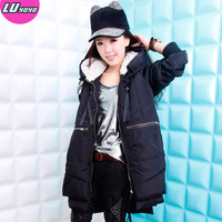 2013 winter loose plus size thickening long design women's wadded jacket cotton-padded jacket outerwear 533