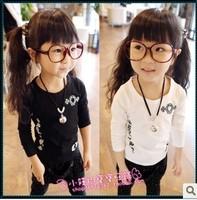 Children's clothing autumn 2014 female child spring baby child clothes long-sleeve T-shirt basic shirt