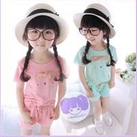 Children's clothing 2014 female child summer female child solid color fashion short-sleeve shorts twinset set child set