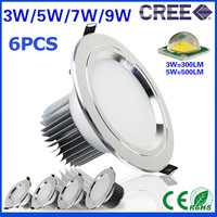 6pcs/lot 3w 5w 7w 9w Anti-Fog led downlight Cree LED ceiling lamps Recessed Spot light Down Lights for home illumination