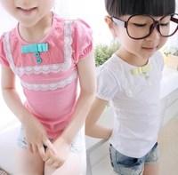 Female child spring summer children's clothing female child t-shirt female child basic shirt candy color female child