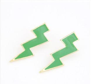 Fashion western simple green lightning geometric stud earrings E335 free shipping(China (Mainland))