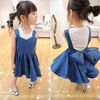 Children's clothing female child spring 2014 bow child denim skirt braces skirt