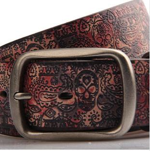 genuine leather skull print men belt,new 2014 fashion hip brand designer colors male belts,cowskin leather strap punk belt/09(China (Mainland))