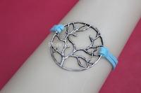 Silver tree,wish tree ,tree bracelet ,blue Velvet cotton braid bracelet , Personality bracelet