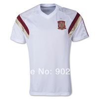AAA 2014 wc Spain Training Top-White best quality fans version short sleeve soccer polo shirt, size:s-xl
