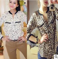 CHEAPEST!!!2014 New Fashion Women Star Print Leopard Print Chiffon Blouse PLUS SIZE free shipping