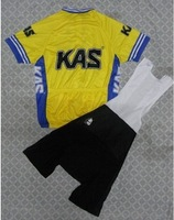 2011 KAS yellow Cycling Jersey bicycle clothing and Bib Shorts Ciclismo Maillot bike Suits