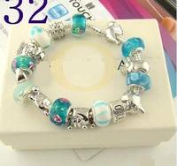 2014 Charm Beads DIY Bracelet New Bracelets&Bangles 925 Tibetan Silver Murano Glass For Women Chamilia Bracelet Free Shipping