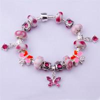 PA1314 Charm Beads Bracelet 925 Tibetan Silver Murano Glass For Women Chamilia Bracelet 2014 New Bracelets&Bangles Free Shipping