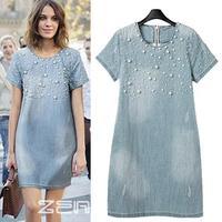 Modern Chic Design Female Pearl Decoarated Short Sleeve Denim Dress Summer Casual Large Size Beads Dresses 8156