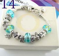 Bracelets&Bangles 2014 New Free Shipping Chamilia Bracelet Charm Beads Bracelet 925 Tibetan Silver Murano Glass For Women