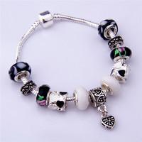 PA1086 Charm Beads Bracelet 2014 New Bracelets&Bangles Free Shipping Chamilia Bracelet 925 Tibetan Silver Murano Glass For Women