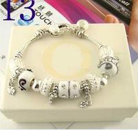 2014 New Free Shipping Chamilia Bracelet Charm Beads Bracelet Bracelets&Bangles 925 Tibetan Silver Murano Glass For Women