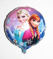 Cartoon Metallic Happy Birthday Decoration Frozen Princess Queen Anna Round Balloon for Kids Party Supplies Foil Ballon,45*45cm