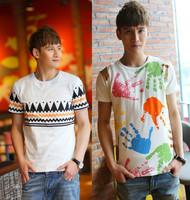 Summer male short-sleeve o-neck short-sleeve slim T-shirt male cartoon teenage men's basic shirt clothing