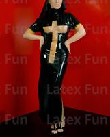 100% Rubber Nun Dress Short Sleeves Transparent Cross Long Skirts Latex Fetish