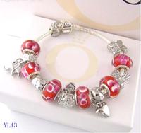 Charm Beads DIY Bracelet New 2014 Bracelets&Bangles 925 Tibetan Silver Murano Glass For Women Chamilia Bracelet Free Shipping