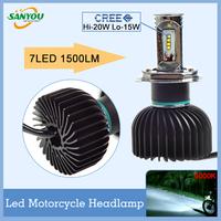 Newest 1 Pc DC10V-DC18V 1500LM  5000K-6000K H4 H6 Motocycle headlights 7LED chip h4 h6 bulb high quality
